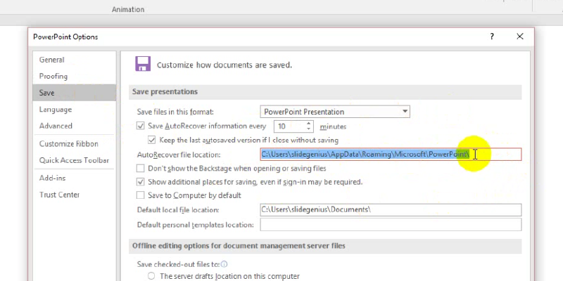recover your unsaved file in PowerPoint 2013: autorecover file location