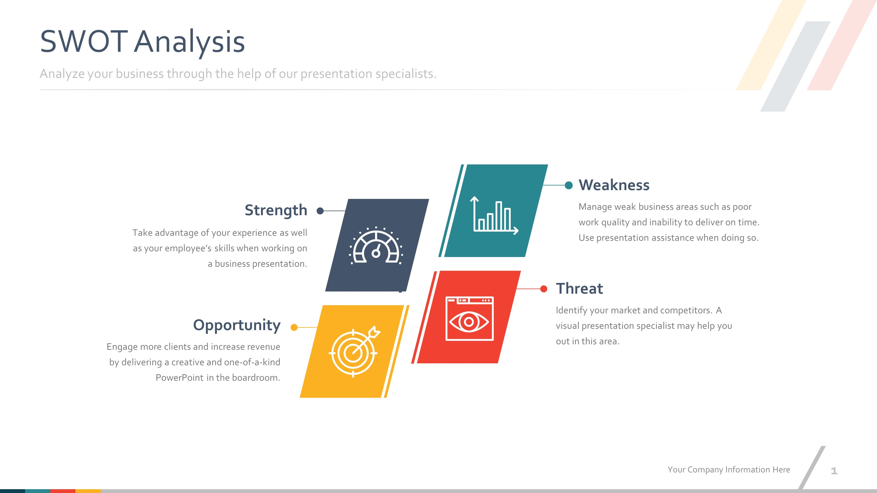 Colorful SWOT PowerPoint Slides