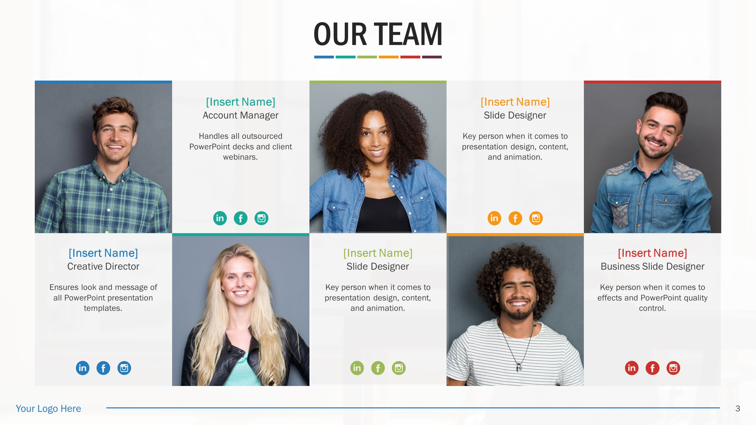 Team Biography Slides for PowerPoint Presentation