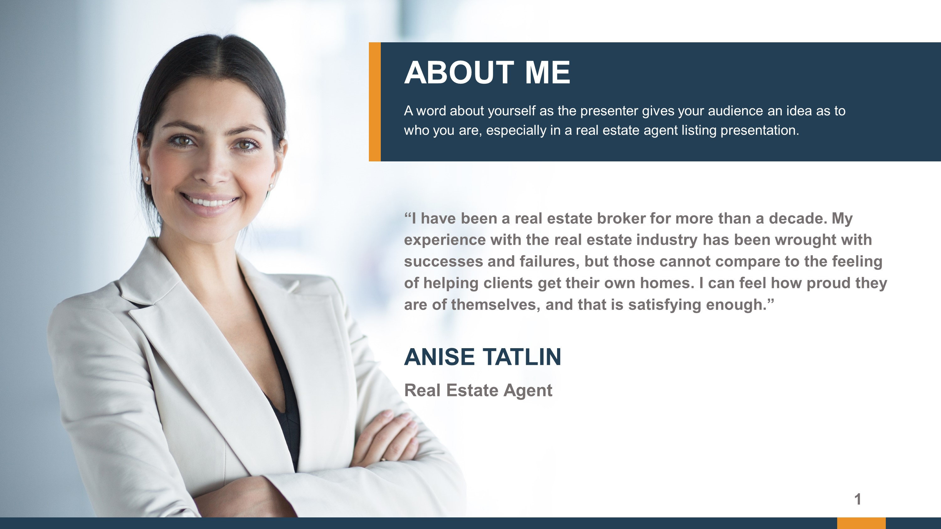Professional Real Estate About Me PowerPoint Slide