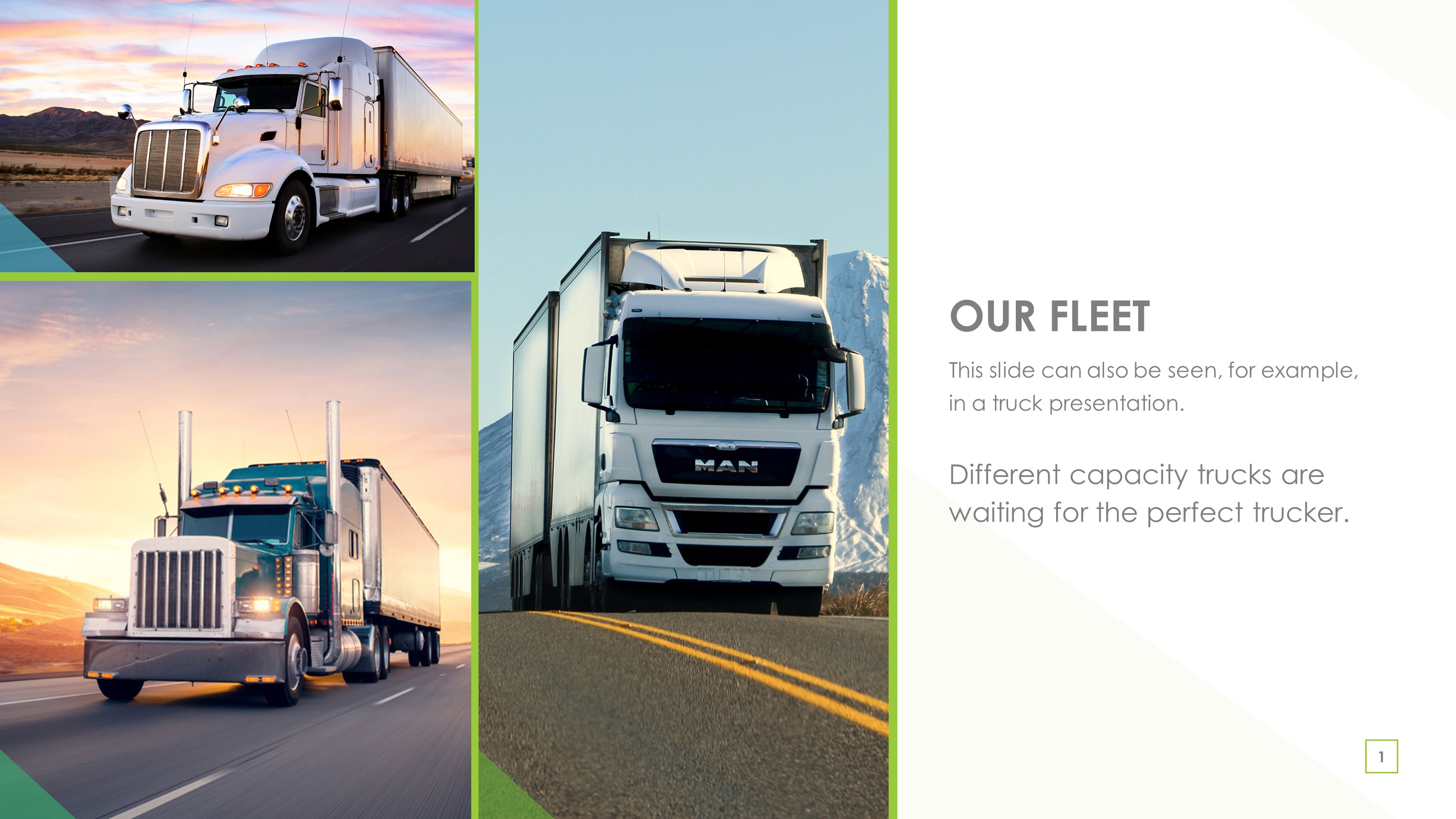 Transportation Trucking Fleet PowerPoint Template