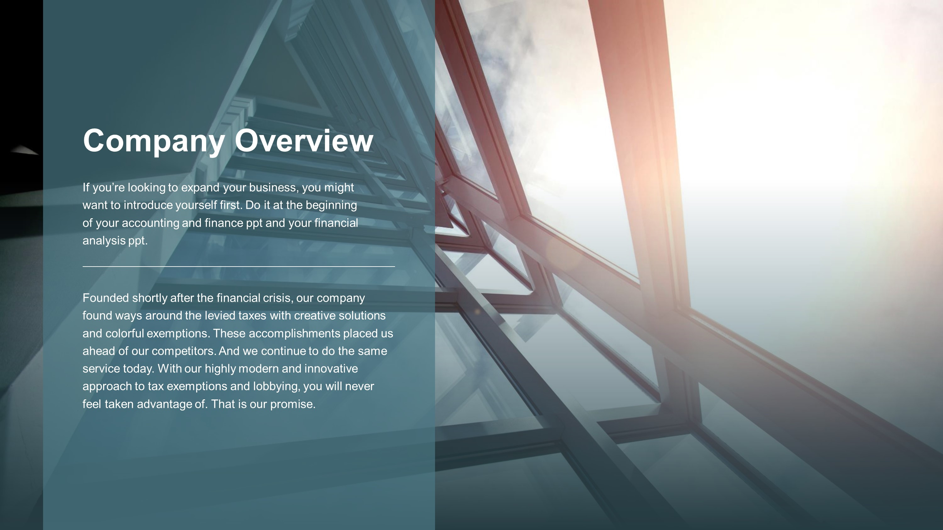 Financial Company Overview PowerPoint Template – SlideStore