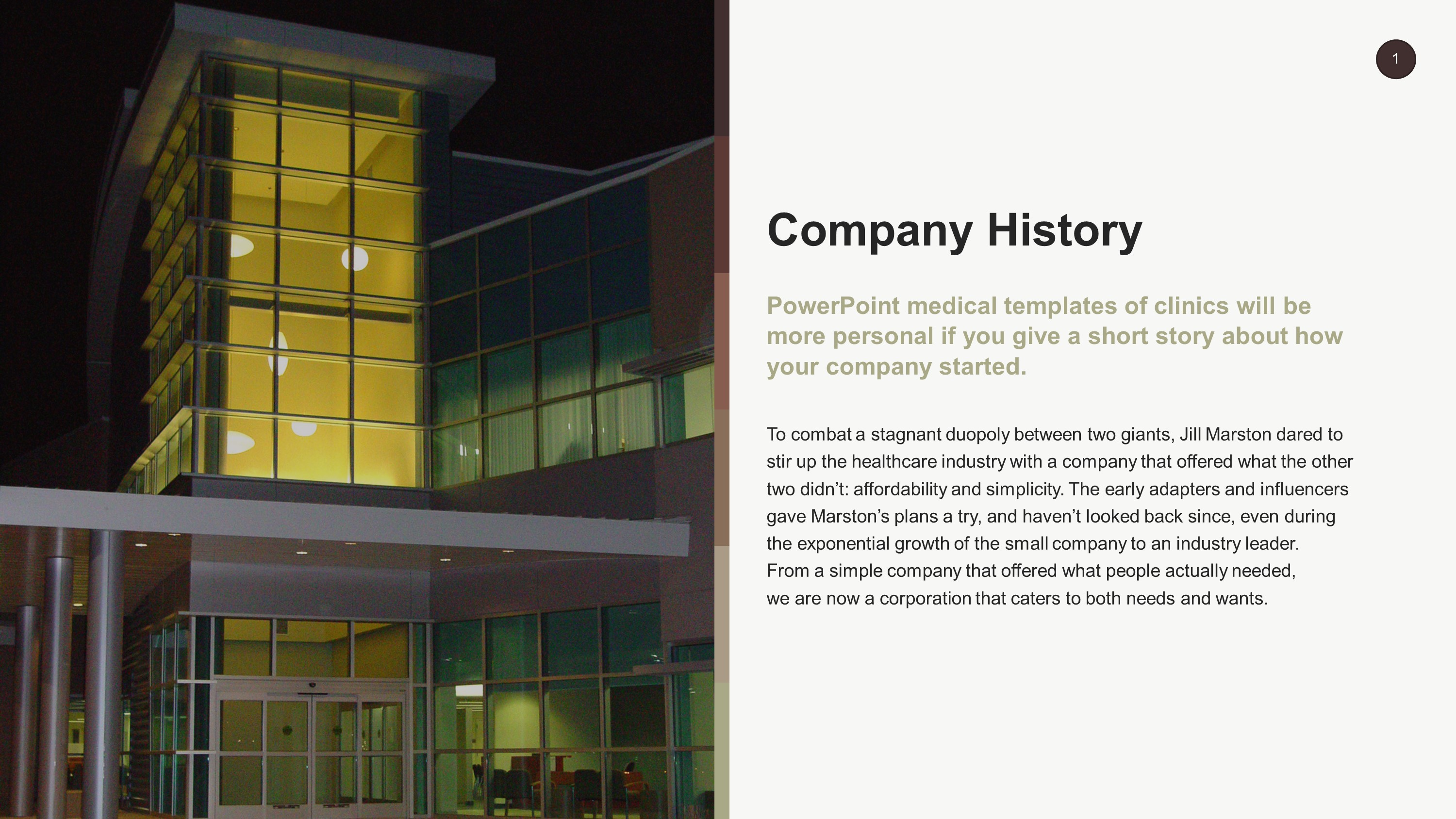 Free Medical Company History PowerPoint Slide