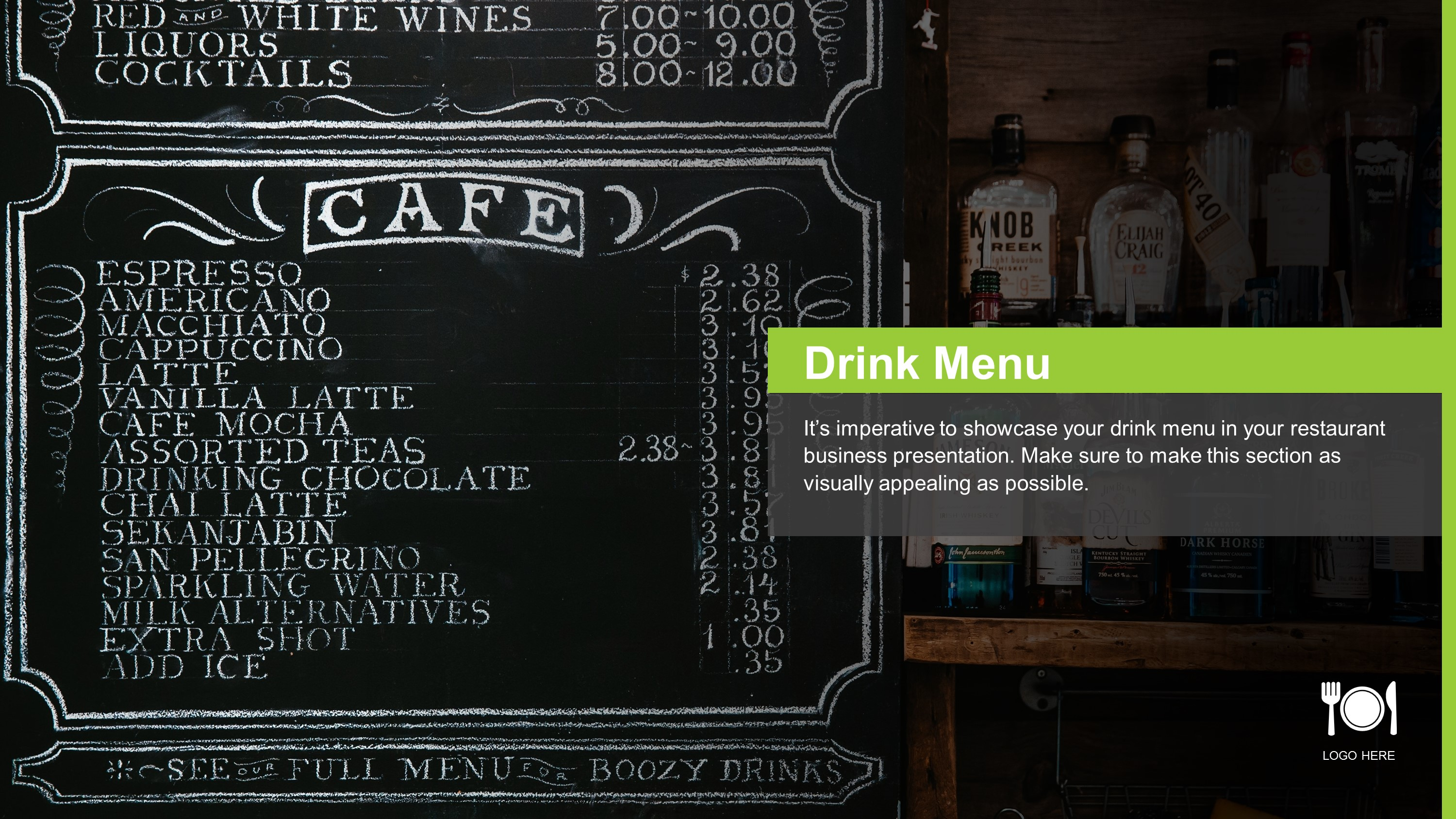Free Restaurant Drink Menu PowerPoint Slide