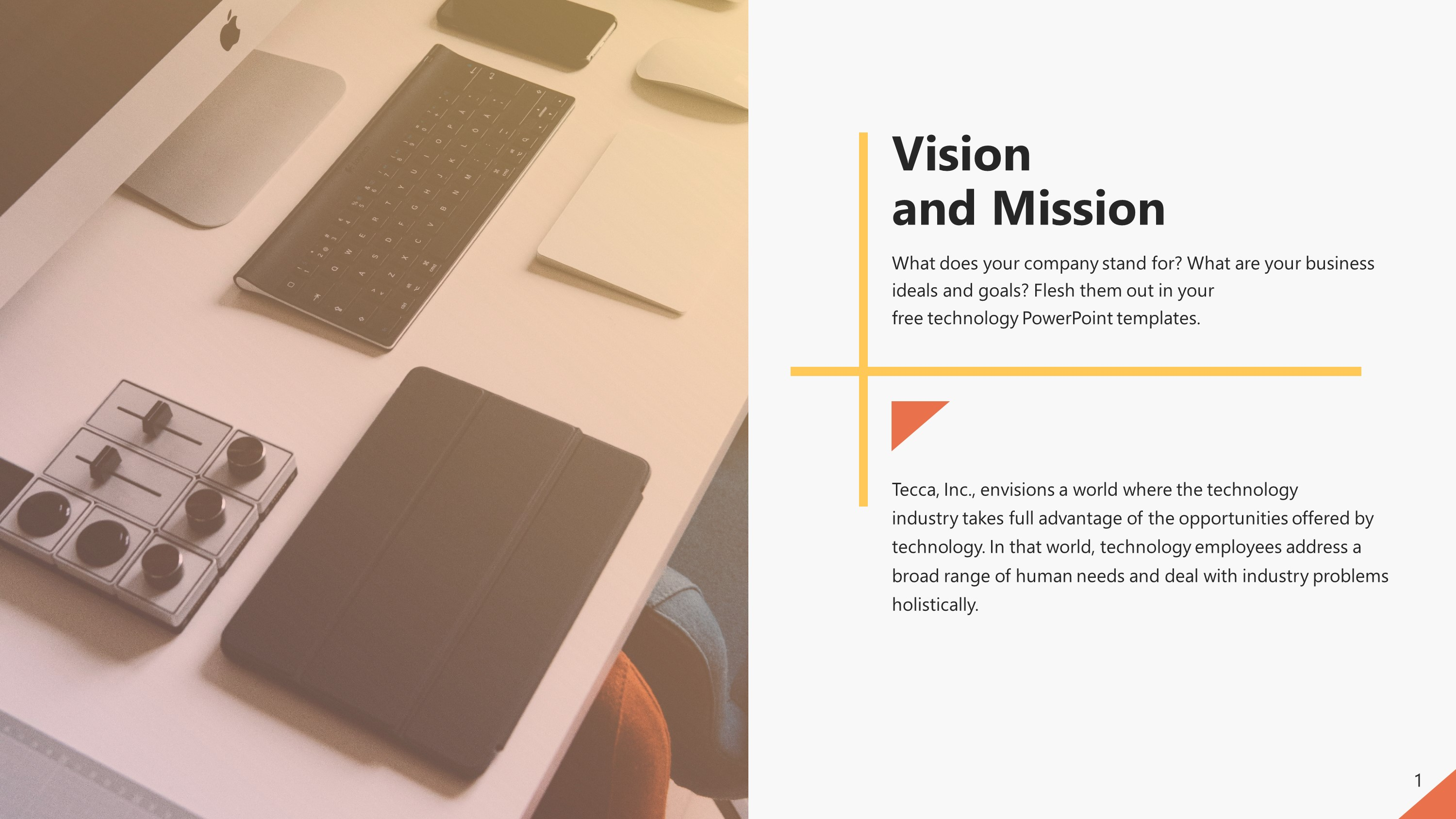 Free Vision And Mission Technology PowerPoint Slide